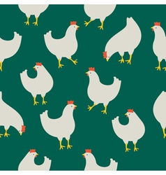 Chicken pattern green vector image