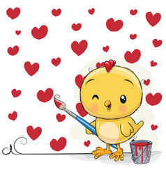 Chicken with brush is drawing red hearts vector