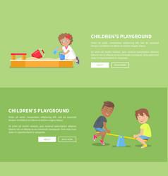 children playground set with sandbox and kids vector image