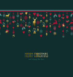 christmas and new year retro gold ornament card vector image