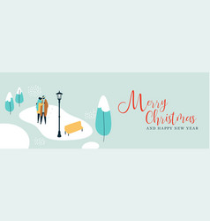 christmas banner of couple walking in snow vector image