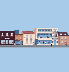 city street panorama with people walking cycling vector image