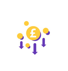 Cost reduction minimising icon with pound vector