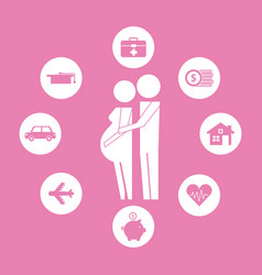 Couple pregnancy hugging family protection vector