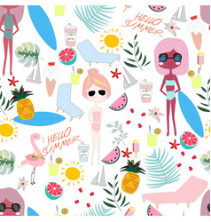 Cute summer sunny day cartoon pattern vector