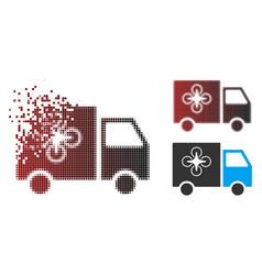Decomposed pixel halftone drone delivery van icon vector