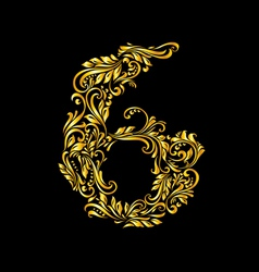 Decorated six digit on black vector