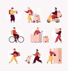 Deliver workers delivery services warehouse guy vector