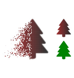 disintegrating dot halftone fir-tree icon vector image