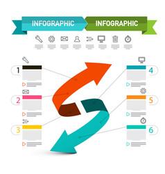 double arrow presentation concept infographic vector image