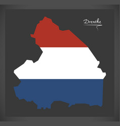 Drenthe netherlands map with dutch national flag vector