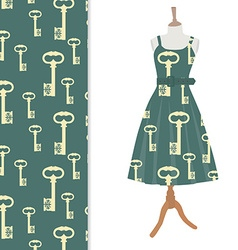 Dress and key pattern vector