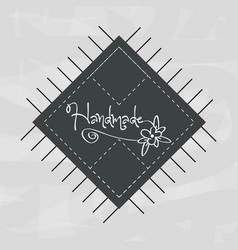 Emblem shape square with flower ornamental design vector