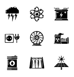 Energy source icons set simple style vector