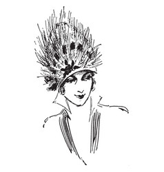 Feather hat 20th century design vintage engraving vector