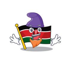 Flag kenya elf cartoon with character happy vector