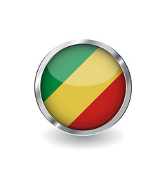 flag of congo button with metal frame and shadow vector image