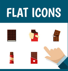 Flat icon cacao set of chocolate sweet dessert vector