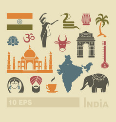 Flat icons of india vector
