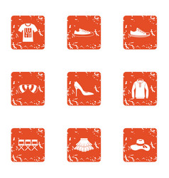 Garment icons set grunge style vector