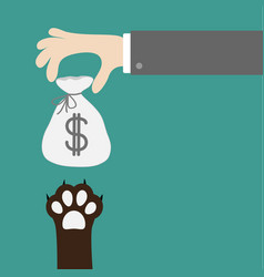 hand giving money bag with dollar sign dog cat vector image