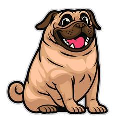 Happy cute cartoon pug dog vector