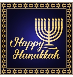 Happy Hanukkah greeting card vector