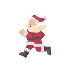 happy santa claus running flat christmas character vector image