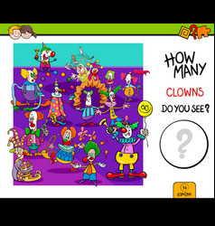 How many clowns educational game vector