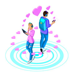 isometry girl and boyfriend are in love vector image
