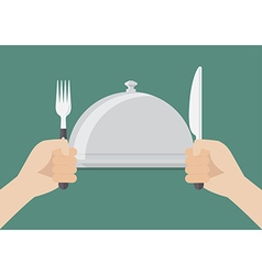 Knife and fork cutlery in hands with serving tray vector