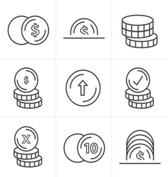 Line Icons Style Coins Icons Set Design black colo vector