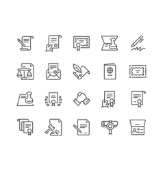 Line Legal Documents Icons vector