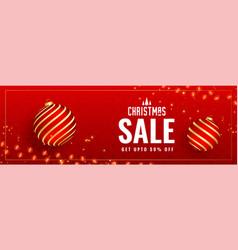 Lovely red christmas sale banner design vector