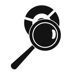 Magnifier pie chart icon simple style vector