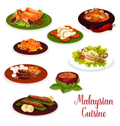 Malaysian cuisine dinner icon with asian dessert vector