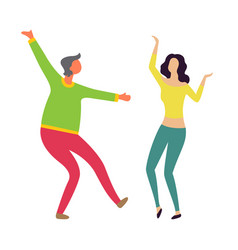 male and female dancers moving together vector image