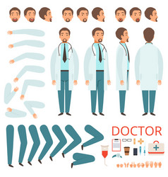 male doctor animation hospital staff character vector image