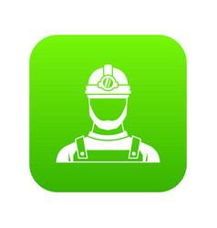 male miner icon digital green vector image