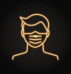 medical face mask in neon line style vector image