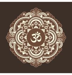 Monochrome henna tattoo mandala om vector