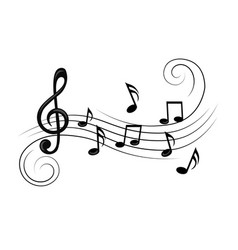 Music notes with curves and swirls vector
