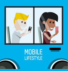 people seated in the bus with smartphone in the vector image