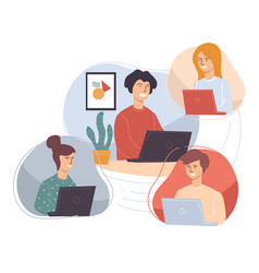 People working from home students or employees vector