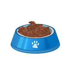 pet preserved food in bowl isolated icon vector image