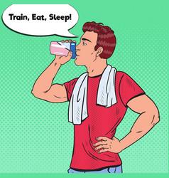 Pop art bodybuilder man drinking protein shake vector