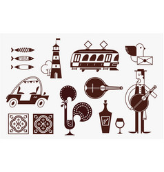 Portugal icon set simple modern symbols vector