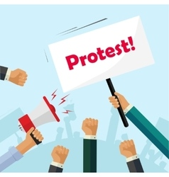 Protesters hands holding protest signs crowd vector image