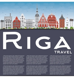 Riga Skyline with Landmarks Blue Sky vector