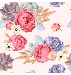 Seamless succulent and peony roses vector